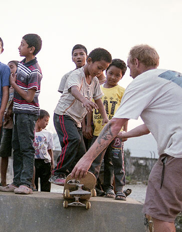 Kids learning how to skate in Nepal
